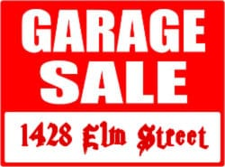 web page elements: garage sale